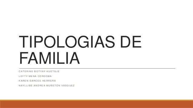 TIPOLOGIAS DE FAMILIA CATERINE BOTYAY KUETGJE LEFTY MENA CORDOBA KAREN GARCES HERRERA NAYLLIBE ANDREA MUÑETÓN VÁSQUEZ
