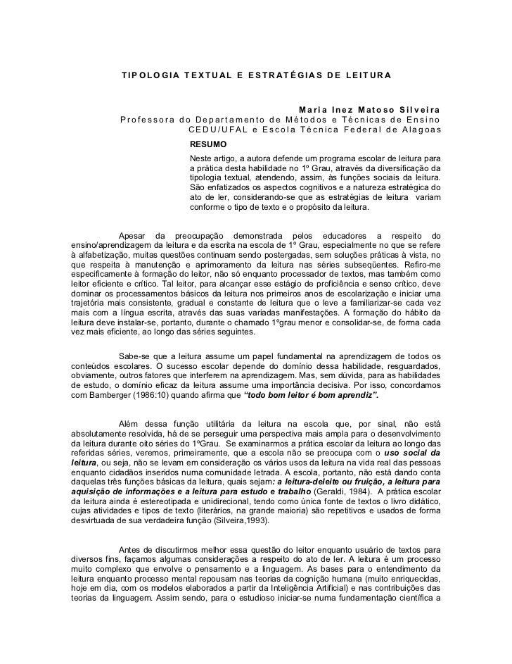 TIPOLOGIA TEXTUAL E ESTRATÉGIAS DE LEITURA                                             Maria Inez Matoso Silveira         ...