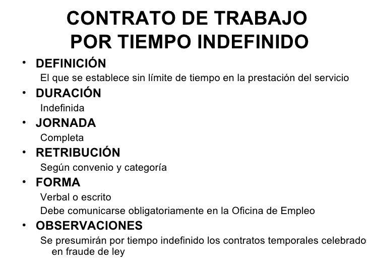 Tipos de contratos for Contrato indefinido ejemplo