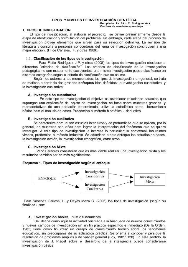 TIPOS Y NIVELES DE INVESTIGACIÖN CIENTÍFICA Recopilador: Lic. Félix C. Rodríguez Vera Con fines de enseñanza aprendizaje 1...