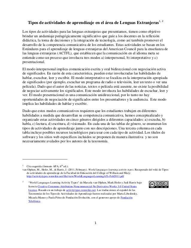 1 Tipos de actividades de aprendizaje en el área de Lenguas Extranjeras1, 2 Los tipos de actividades para las lenguas extr...