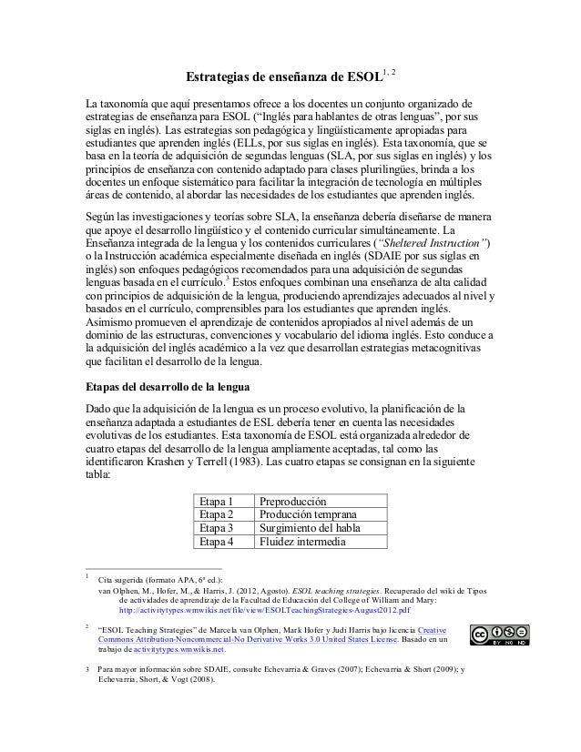 Tipos de actividades de aprendizaje en el area de ESOL