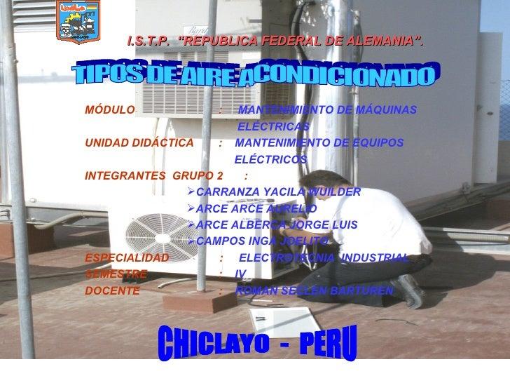 """I.S.T.P. """"REPUBLICA FEDERAL DE ALEMANIA"""".     MÓDULO            :   MANTENIMIENTO DE MÁQUINAS                       ELÉCTR..."""