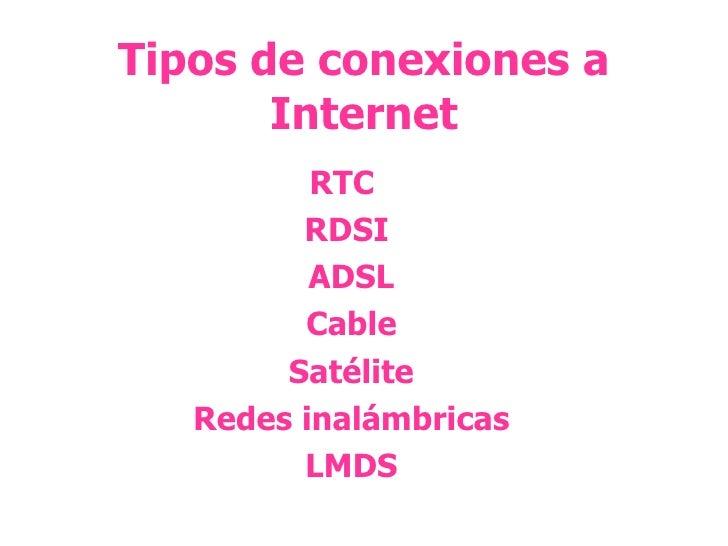 Tipos de conexiones a Internet RTC  RDSI ADSL Cable Satélite Redes inalámbricas LMDS