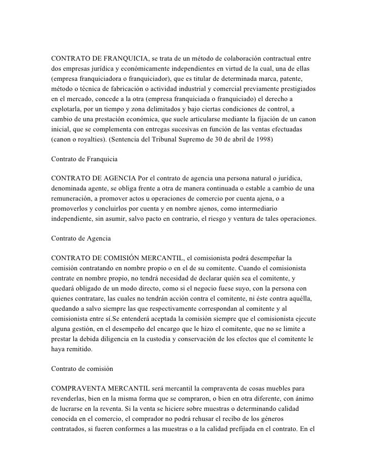 CONTRATO DE FRANQUICIA, se trata de un método de colaboración contractual entre dos empresas jurídica y económicamente ind...