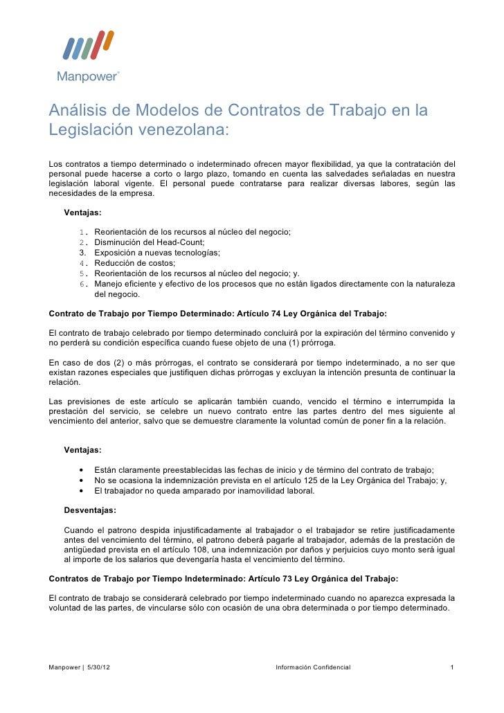 Análisis de Modelos de Contratos de Trabajo en laLegislación venezolana:Los contratos a tiempo determinado o indeterminado...