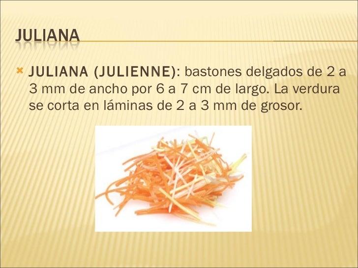 Tipos de cortes de verduras for Definicion de gastronomia pdf