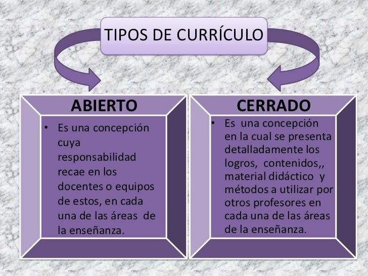 TIPOS DE CURRÍCULO<br />ABIERTO<br />CERRADO<br />Es  una concepción  en la cual se presenta detalladamente los logros,  c...
