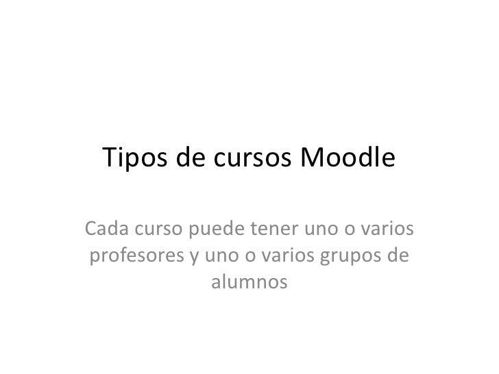 Tipos de cursos MoodleCada curso puede tener uno o variosprofesores y uno o varios grupos de              alumnos