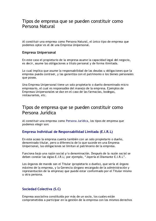 Tipos de empresa que se pueden constituir comoPersona Naturalhttp://www.supertubex.com/video/1319/inthevip-its-a-partyAl c...