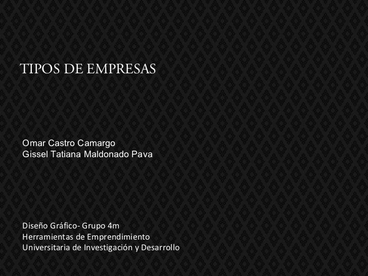 TIPOS DE EMPRESASOmar Castro CamargoGissel Tatiana Maldonado PavaDiseño Gráfico- Grupo 4mHerramientas de EmprendimientoUni...