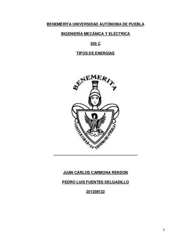 BENEMÉRITA UNIVERSIDAD AUTÓNOMA DE PUEBLA     INGENIERÍA MECÁNICA Y ELÉCTRICA                  305 C            TIPOS DE E...