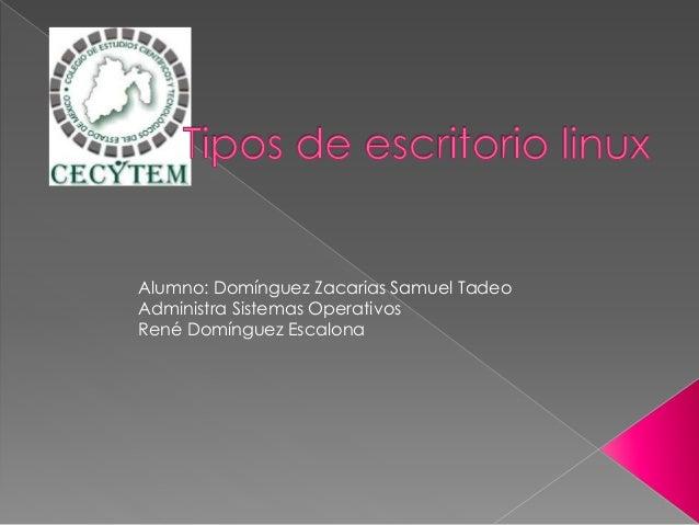 Alumno: Domínguez Zacarias Samuel Tadeo Administra Sistemas Operativos René Domínguez Escalona