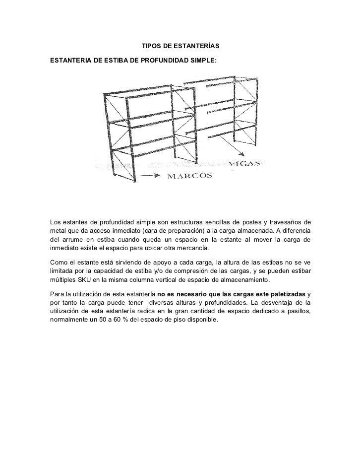 TIPOS DE ESTANTERÍASESTANTERIA DE ESTIBA DE PROFUNDIDAD SIMPLE:Los estantes de profundidad simple son estructuras sencilla...
