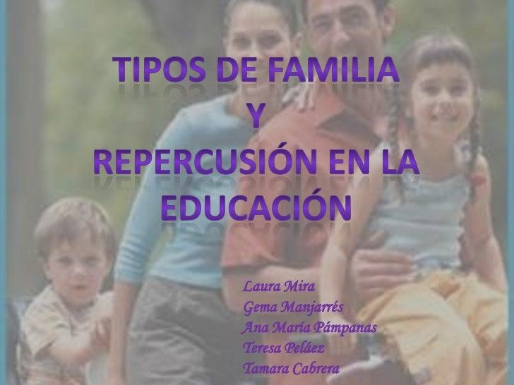 Tipos de familia<br />Y<br />Repercusión en la educación<br />Laura Mira<br />Gema Manjarrés<br />Ana María Pámpanas<br />...