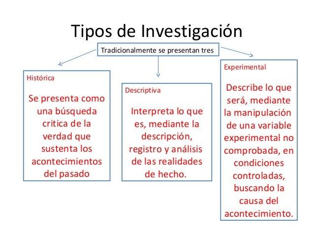 Tipos de Investigación               Tradicionalmente se presentan tres                                                   ...