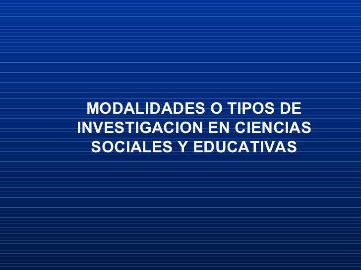 Tipos De Investigacion En EducacióN