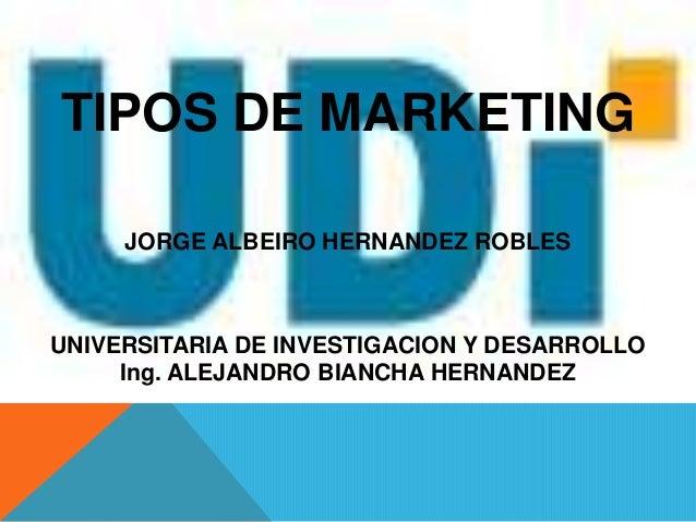 JORGE ALBEIRO HERNANDEZ ROBLESUNIVERSITARIA DE INVESTIGACION Y DESARROLLOTIPOS DE MARKETINGIng. ALEJANDRO BIANCHA HERNANDEZ