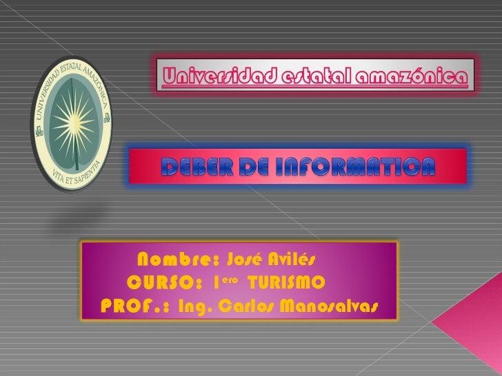 Nombre:  José Avilés   CURSO:  1 ero   TURISMO   PROF.:  Ing. Carlos Manosalvas