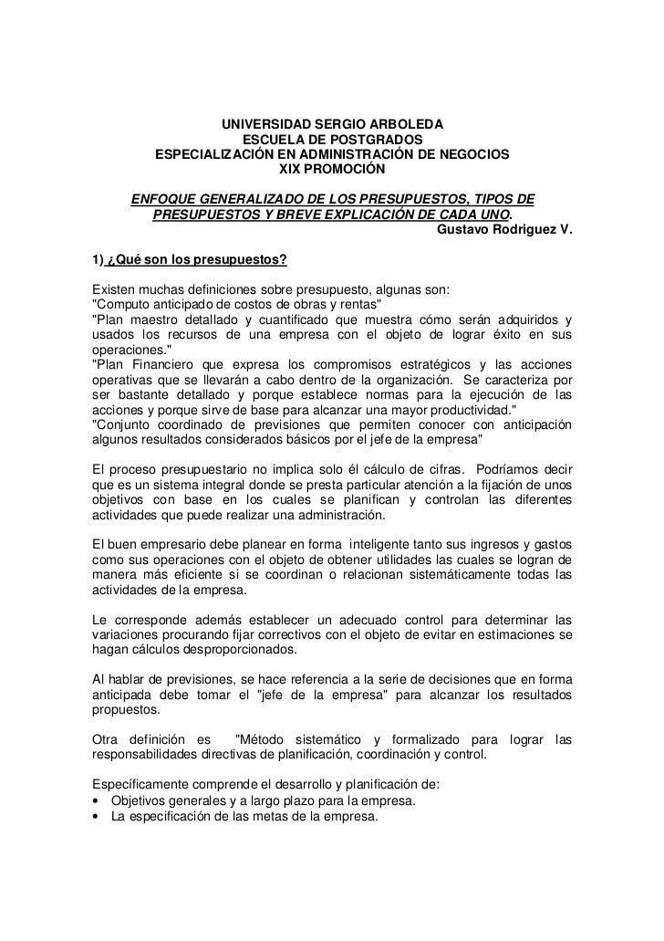 UNIVERSIDAD SERGIO ARBOLEDA                     ESCUELA DE POSTGRADOS          ESPECIALIZACIÓN EN ADMINISTRACIÓN DE NEGOCI...