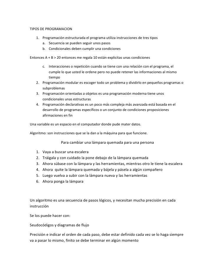 TIPOS DE PROGRAMACION   1. Programación estructurada el programa utiliza instrucciones de tres tipos      a. Secuencia se ...