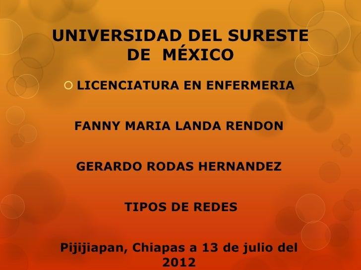 UNIVERSIDAD DEL SURESTE      DE MÉXICO  LICENCIATURA EN ENFERMERIA  FANNY MARIA LANDA RENDON  GERARDO RODAS HERNANDEZ    ...