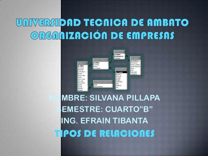 """UNIVERSIDAD TECNICA DE AMBATOORGANIZACIÓN DE EMPRESAS<br />NOMBRE: SILVANA PILLAPA<br />SEMESTRE: CUARTO""""B""""<br />ING. EFRA..."""