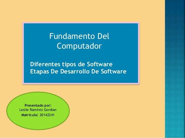 Fundamento Del  Computador  Diferentes tipos de Software  Etapas De Desarrollo De Software  Presentado por:  Leslie Ramíre...