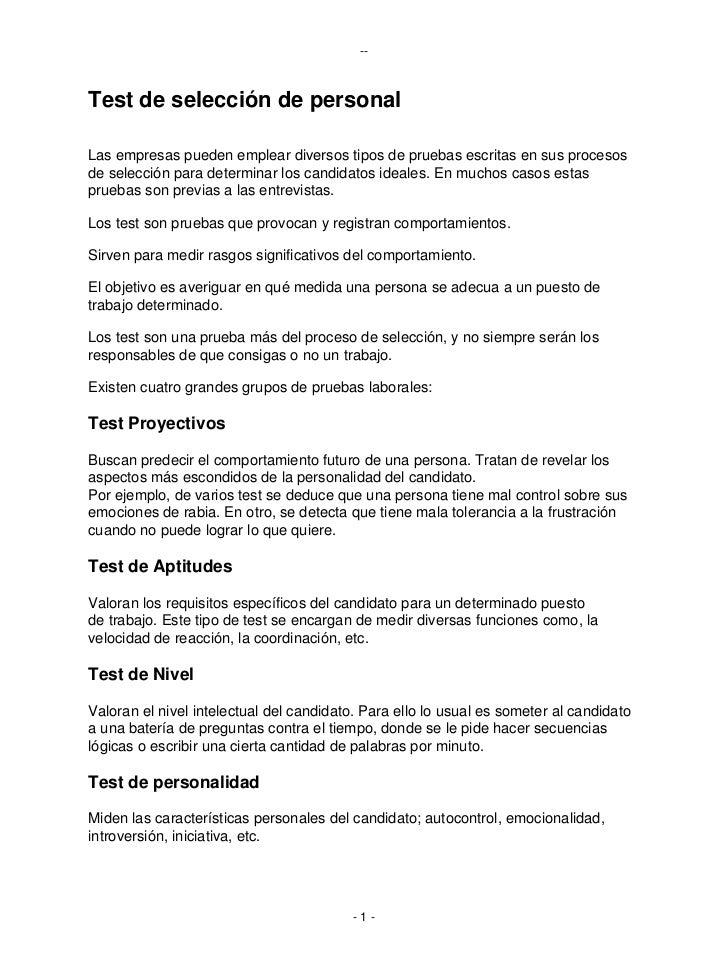 --Test de selección de personalLas empresas pueden emplear diversos tipos de pruebas escritas en sus procesosde selección ...