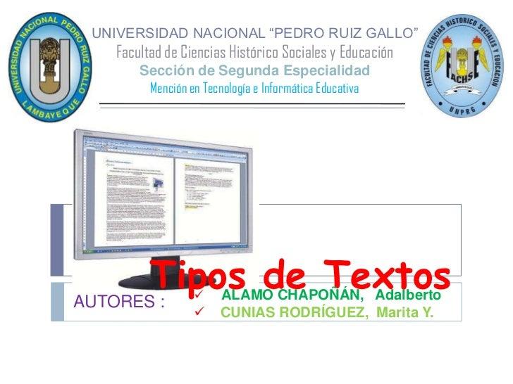 """UNIVERSIDAD NACIONAL """"PEDRO RUIZ GALLO""""Facultad de Ciencias Histórico Sociales y EducaciónSección de Segunda Especialidad ..."""