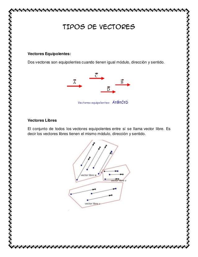 TIPOS DE VECTORESVectores Equipolentes:Dos vectores son equipolentes cuando tienen igual módulo, dirección y sentido.Vecto...