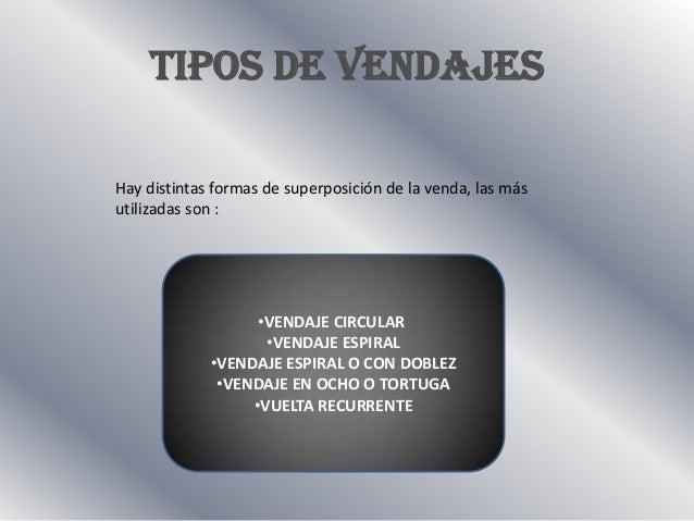 TIPOS DE VENDAJESHay distintas formas de superposición de la venda, las másutilizadas son :                   •VENDAJE CIR...