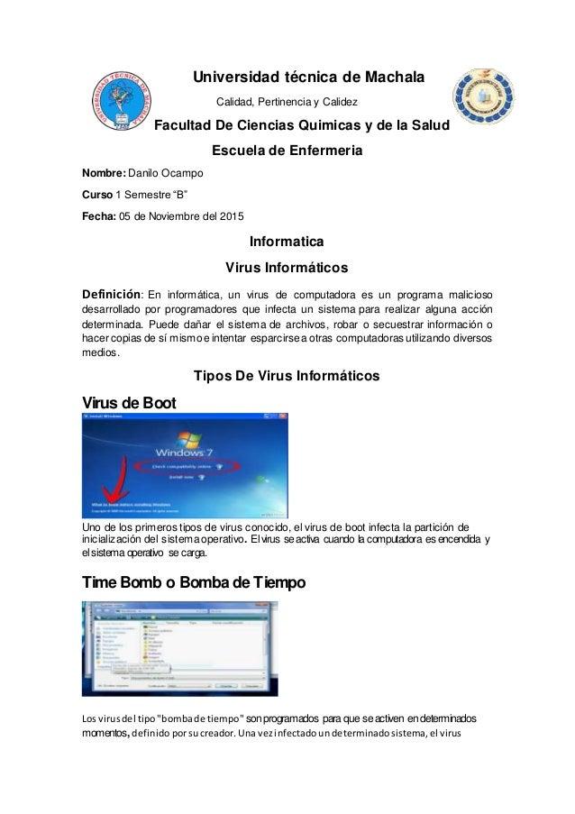 Universidad técnica de Machala Calidad, Pertinencia y Calidez Facultad De Ciencias Quimicas y de la Salud Escuela de Enfer...