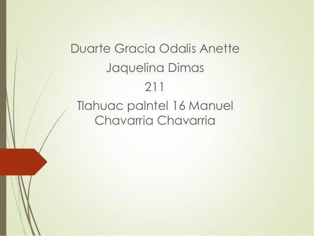 Duarte Gracia Odalis Anette Jaquelina Dimas 211 Tlahuac palntel 16 Manuel Chavarria Chavarria