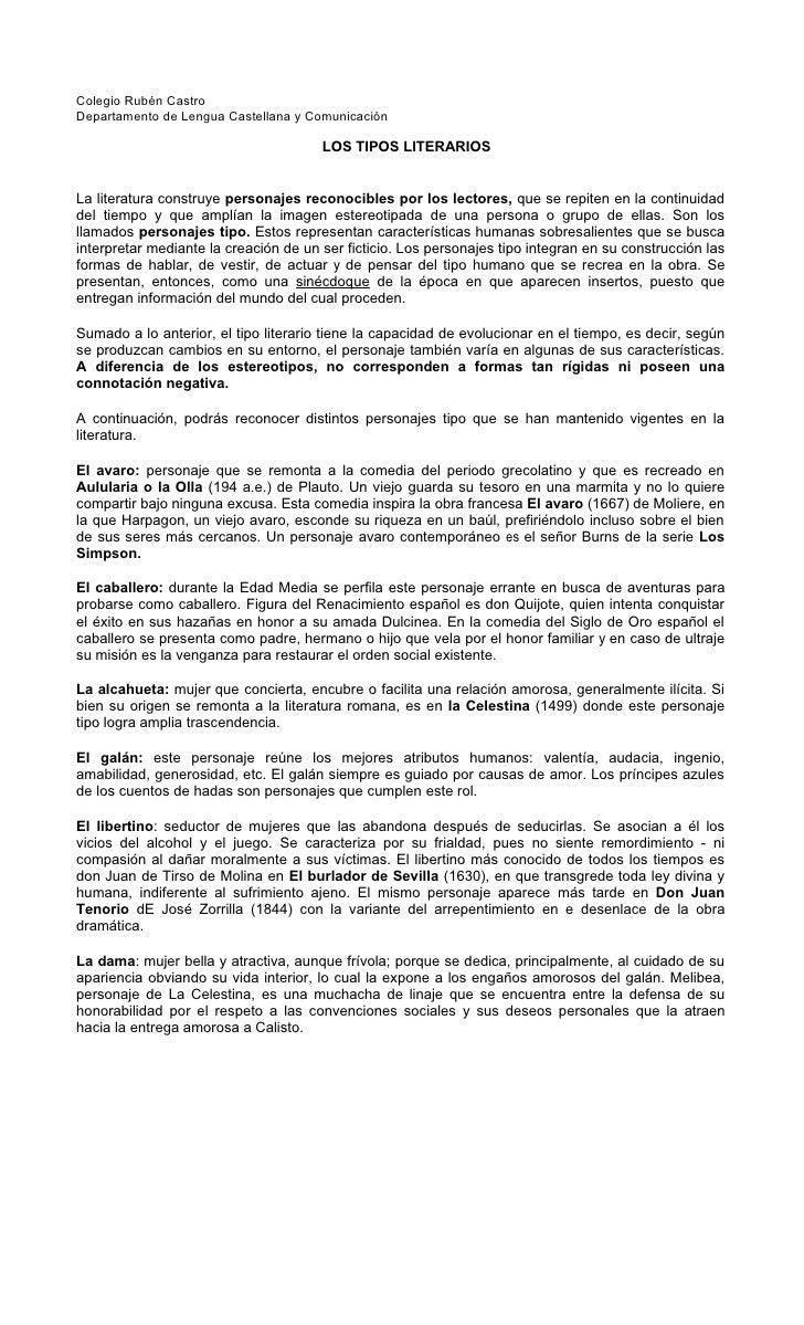 Colegio Rubén Castro Departamento de Lengua Castellana y Comunicación                                         LOS TIPOS LI...