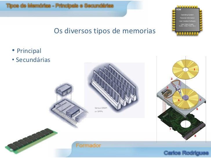 Os diversos tipos de memorias• Principal• Secundárias