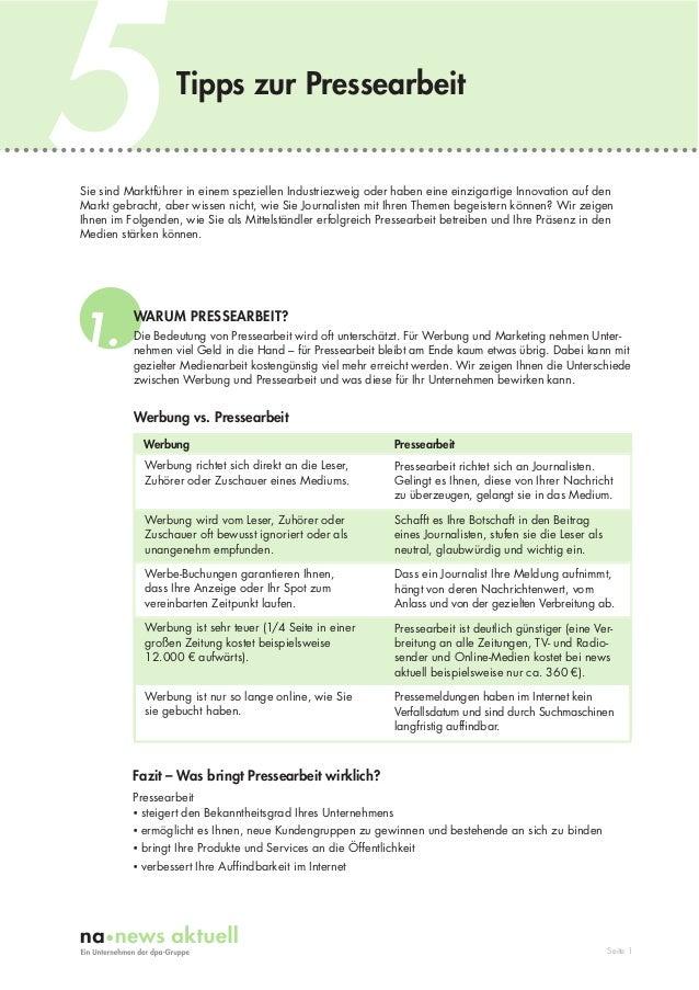 5  Tipps zur Pressearbeit  Sie sind Marktführer in einem speziellen Industriezweig oder haben eine einzigartige Innovation...