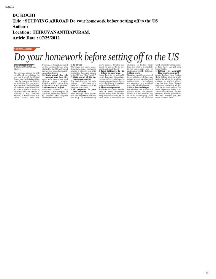Preparing to Study in the USA, Tips by Vishal Eswar