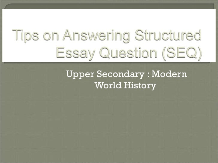structured essay question history