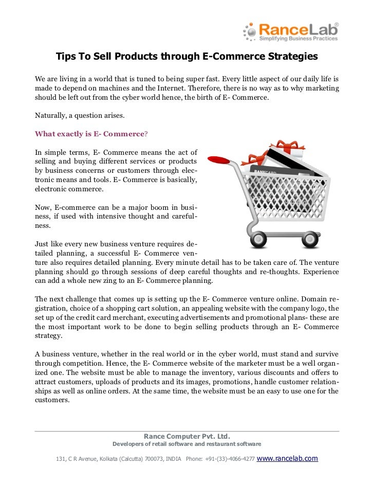 Tips to sell strategies through e-commerce strategies.