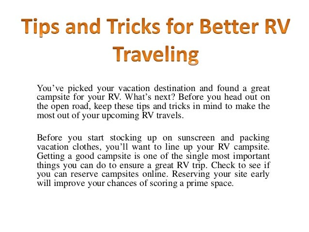 Simple Tips And Tricks For Better RV Traveling
