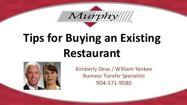 Tips for buying an existing restaurant
