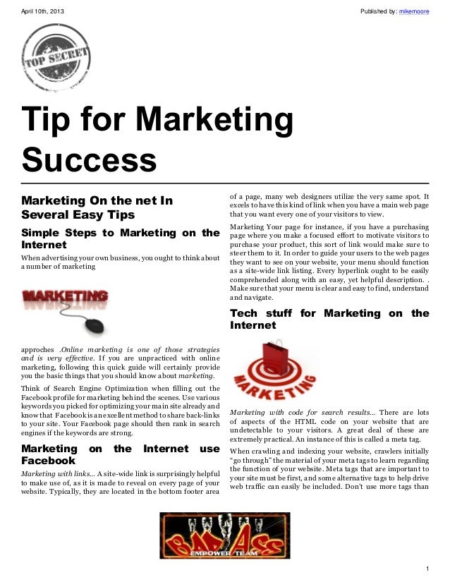Tips for marketing success