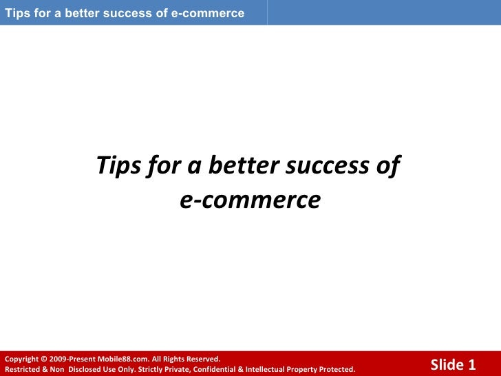 Tips for a better success of e commerce