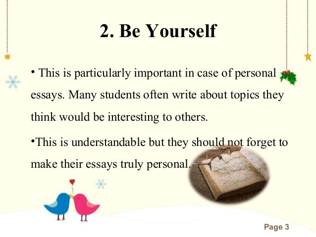 To Be Yourself essays