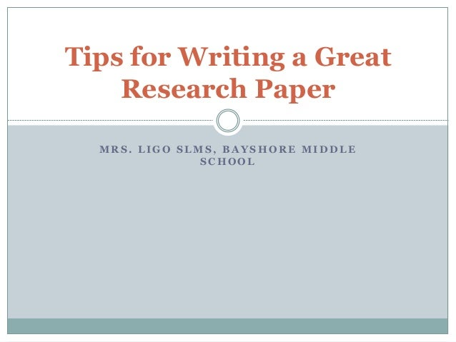 Tips on a Research Paper?