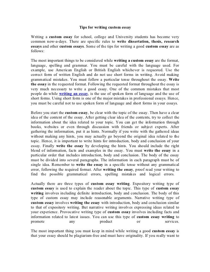 custom written essay