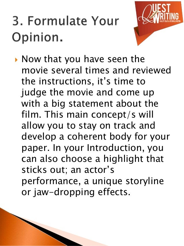 How to write a paper about a movie