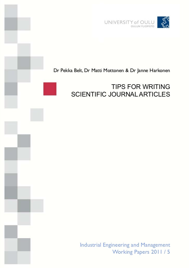 Tips for writing scientific journal articles