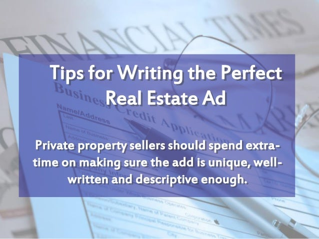 Real Estate how to write assey
